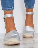 FarrGo  Espadrille Buckled Ankle Strap Closed Toe Sandals