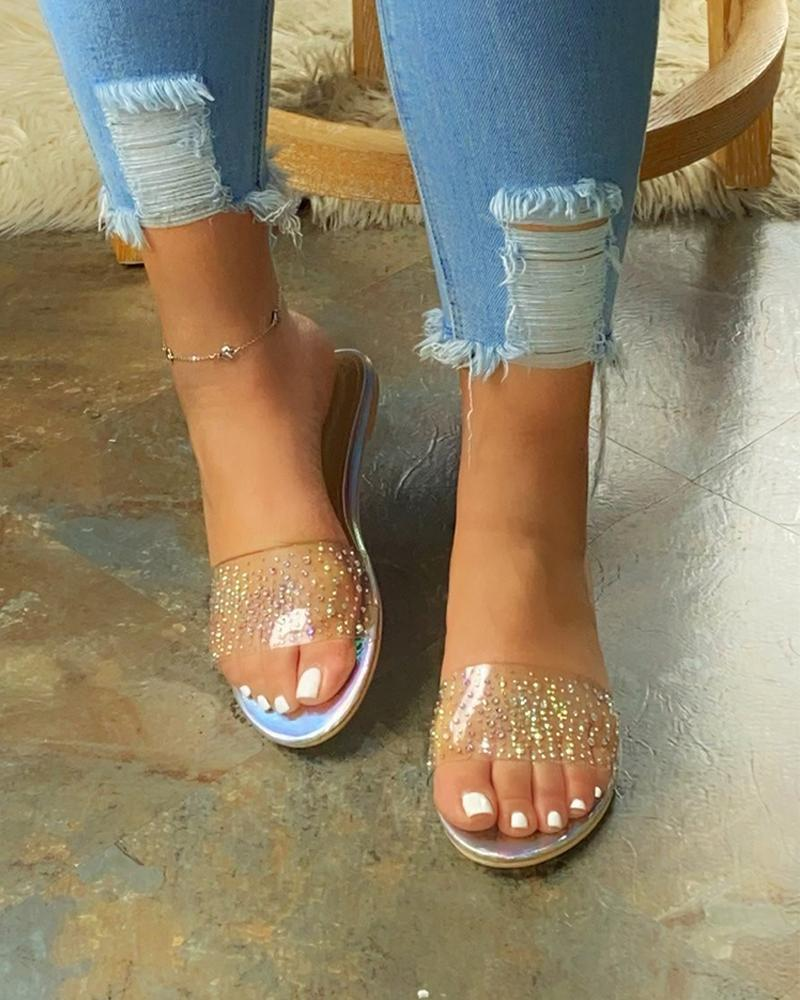 FarrGo Womens Rhinestone Strap Cushioned Flat Sandals