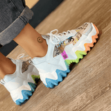 FarrGo Colorful Graffiti Mesh Sneakers