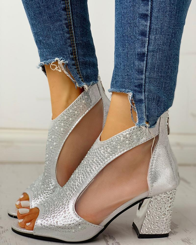 FarrGo  Rhinestone Embellished Sexy Mesh Chunky Heeled Back Zipper Hollow-out Sandals