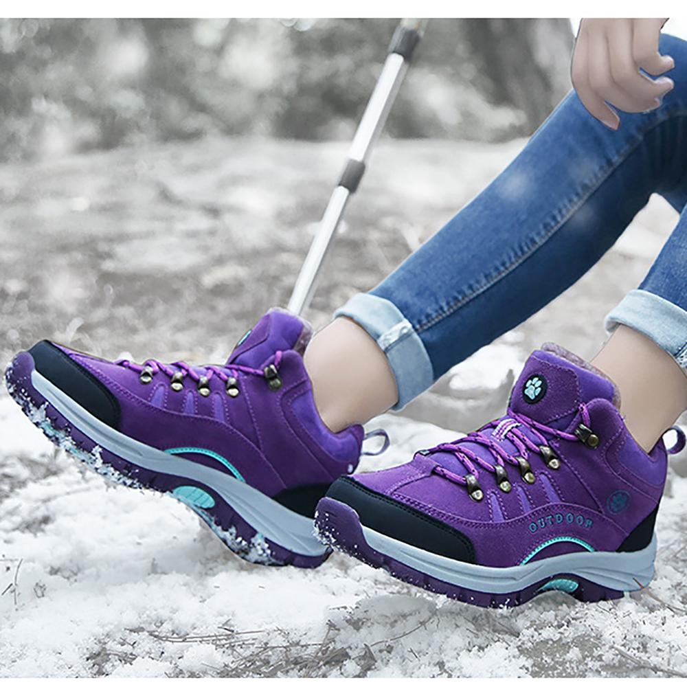 FarrGo Winter Snow Shoes Warm Lace-up Wearproof Antiskid Climbing Boots