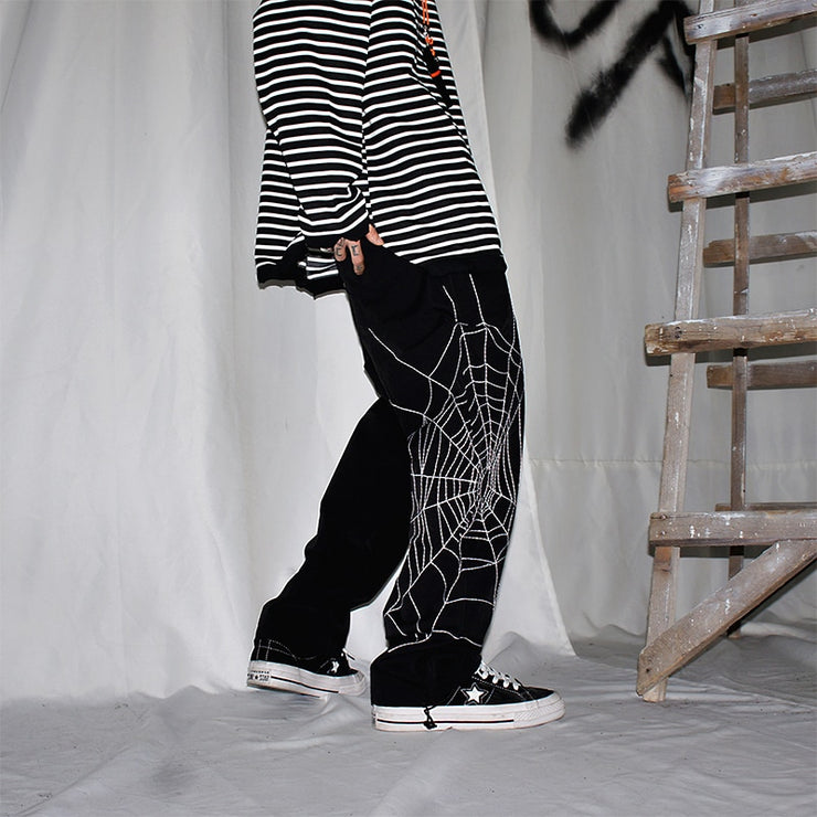 Spider Embroidery Pants