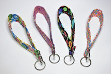 Load image into Gallery viewer, Keychain wristlets in sewing-themed fabrics