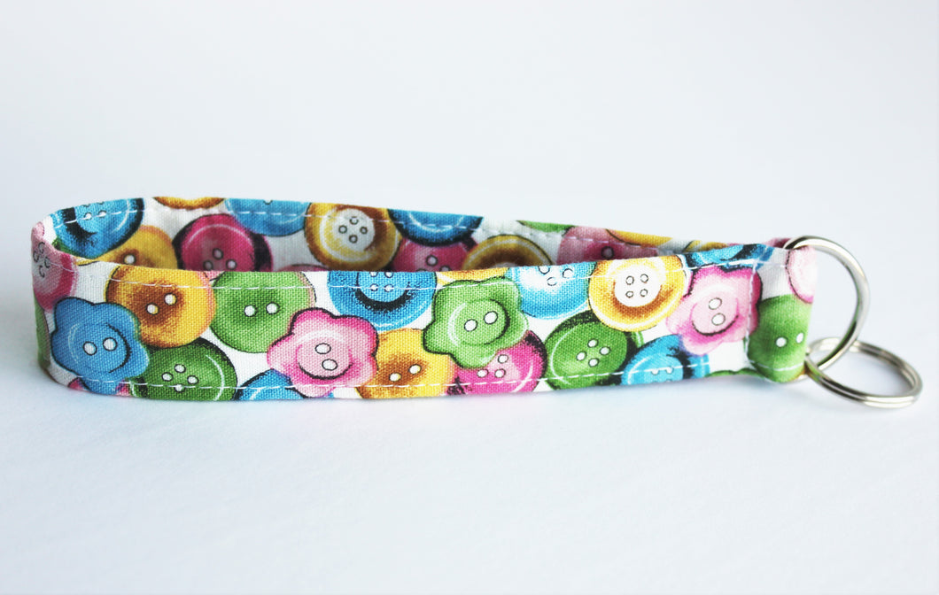 Keychain wristlets in sewing-themed fabrics
