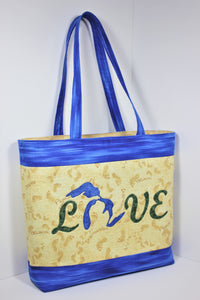 """Love MI Home"" Michigan tote bag pattern"