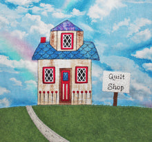 "Load image into Gallery viewer, ""Which Way to the Quilt Shop?"" fabric license plate quilt pattern"