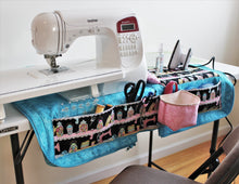 Load image into Gallery viewer, When open, the Sewing Mat Bag is a compact sewing station with a place for all your sewing supplies.