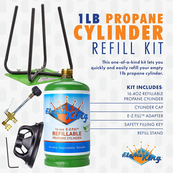 Flame King Refillable 1 lb Empty Propane Cylinder Tank - Refill Kit