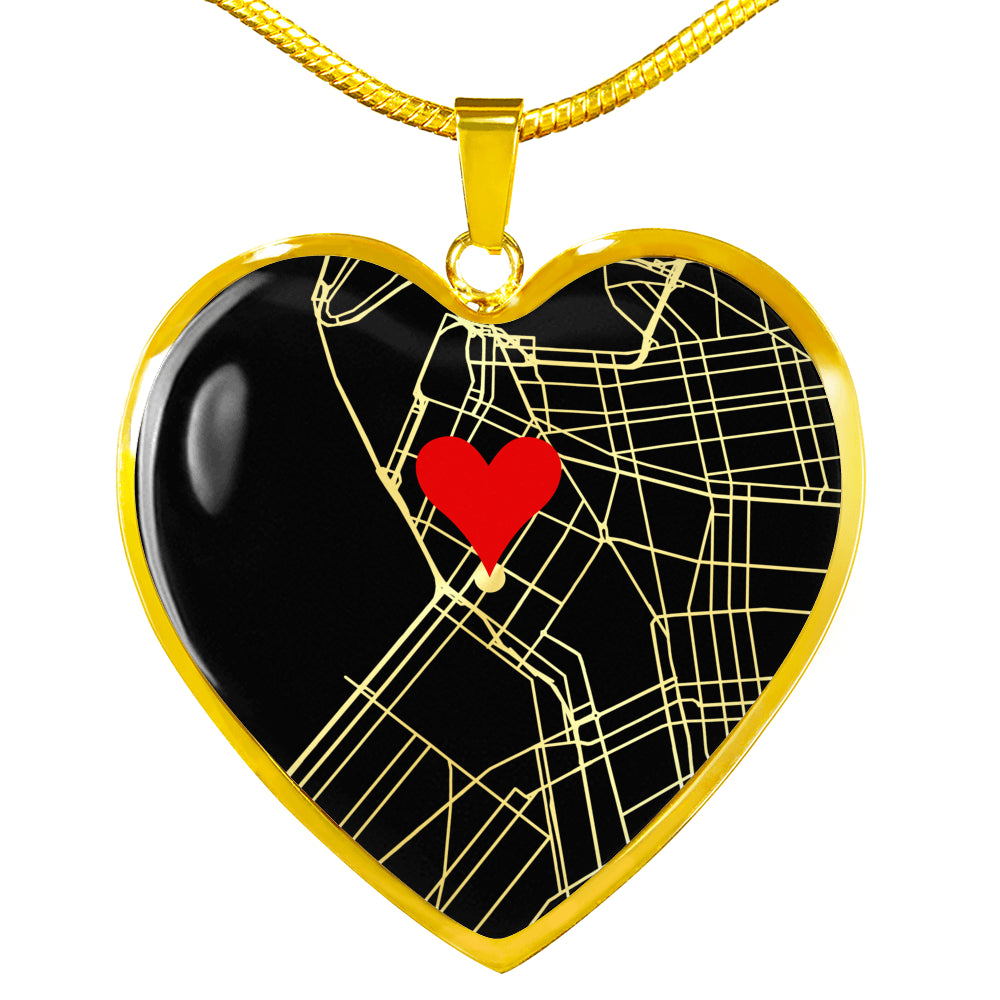 Heart Marks the Spot Custom Map Necklace