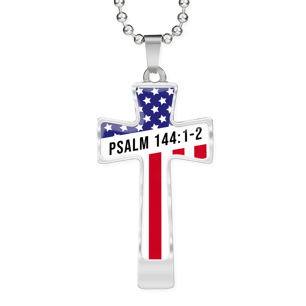 Psalm 144:1-2 Military Cross Necklace