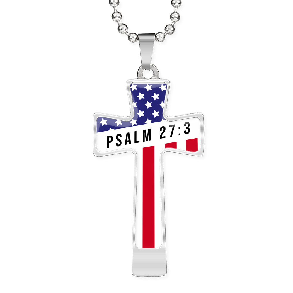 Psalm 27:3 Military Cross Necklace