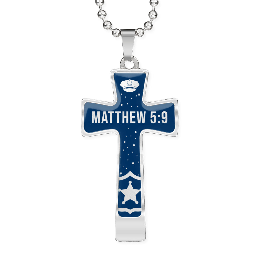 Matthew 5:9 Police Officer Cross Necklace