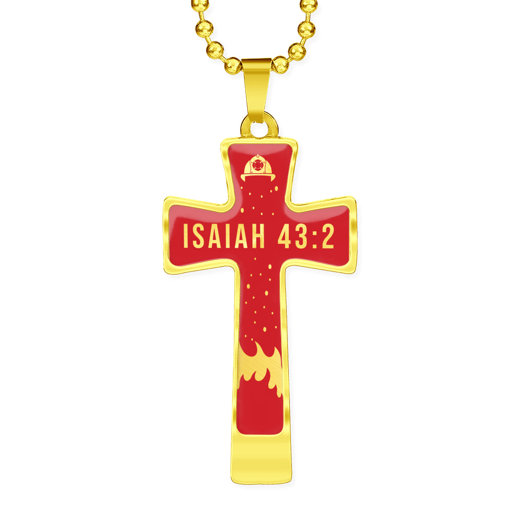 Isaiah 43:2 Firefighter Cross Necklace