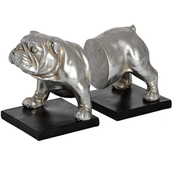 Silver Bull Dog Bookends