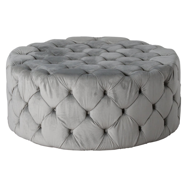 Grey Velvet Large Footstool