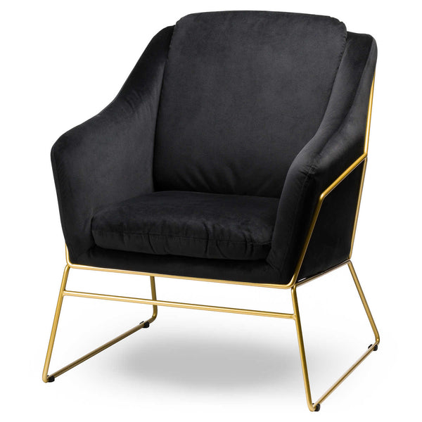 Black Velvet & Brass Chair