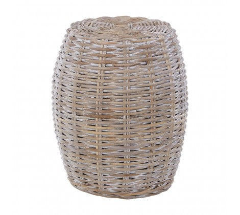 White Wash Rattan Stool