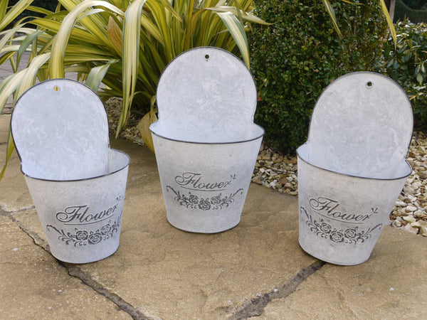 Set of 3 French Wall Planters ,  - Olive and Sage, Olive and Sage