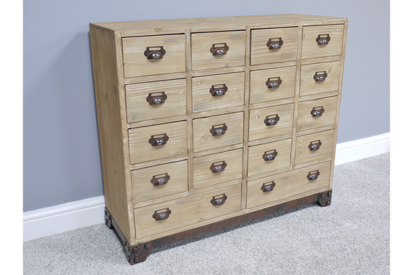 Rustic 18 Drawer Cabinet