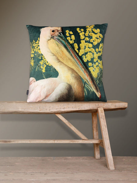Green Pelican Velvet Cushion