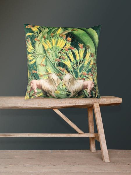 Velvet Lion Dogs Cushion