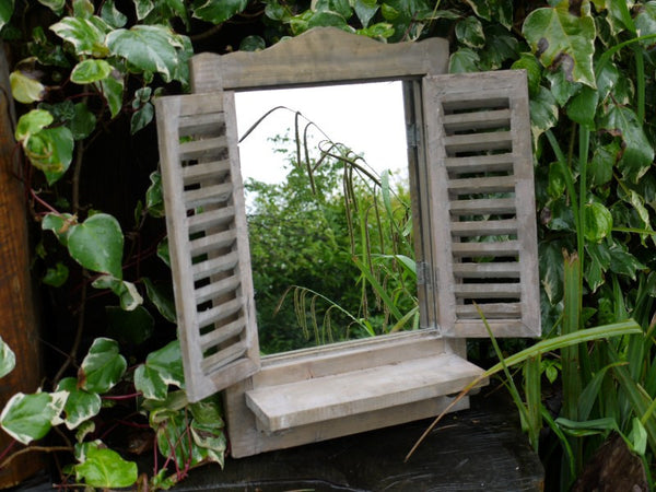 Shutter Mirror with Shelf Small Natural,  - Olive and Sage, Olive and Sage  - 8