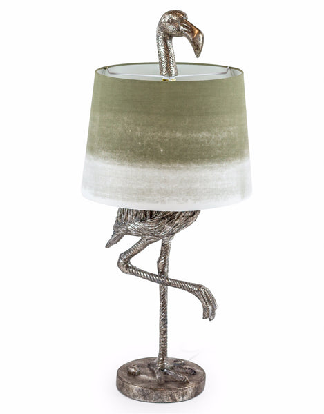 Large Silver Flamingo Lamp