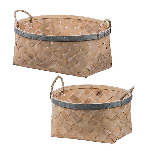 Set of 2 Bamboo Baskets