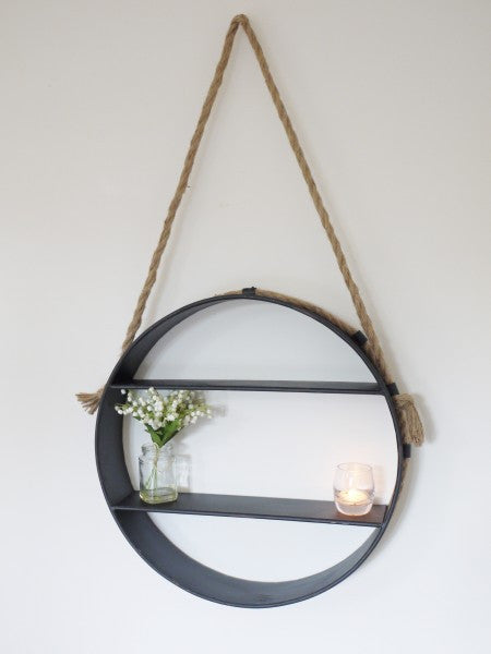 Round Hanging Shelf Olive And Sage