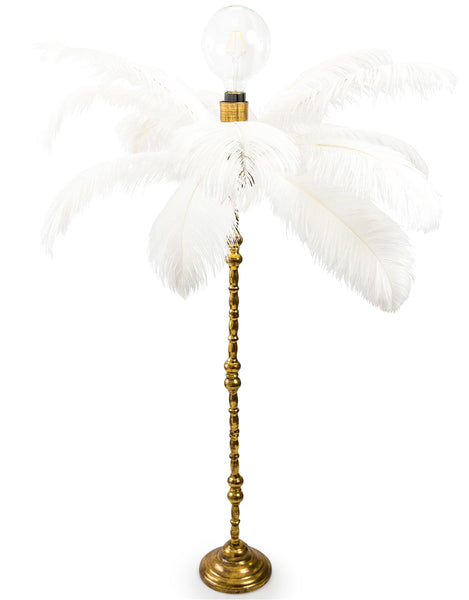 White Ostrich Feather Lamp