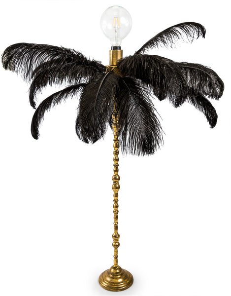 Black Ostrich Feather Lamp