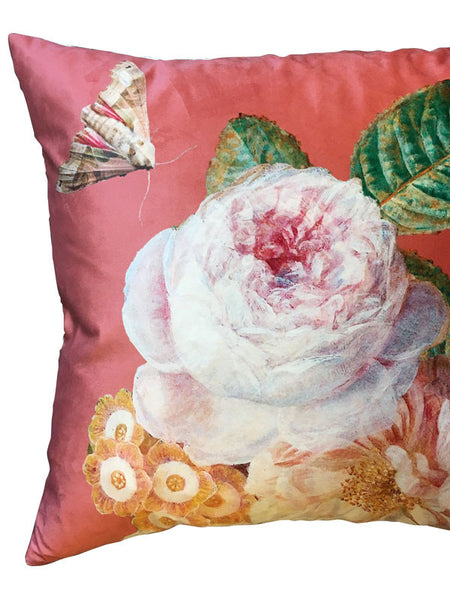 Velvet Coral Rose Cushion