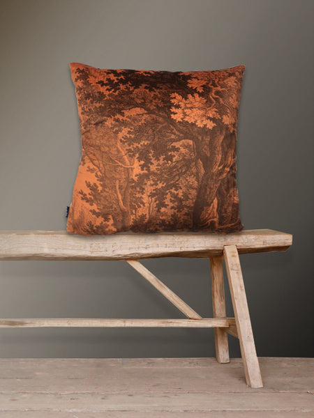 Orange Woods Velvet Cushion