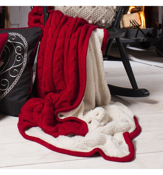 Glencoe Cable Throw Red,  - Olive and Sage, Olive and Sage  - 1
