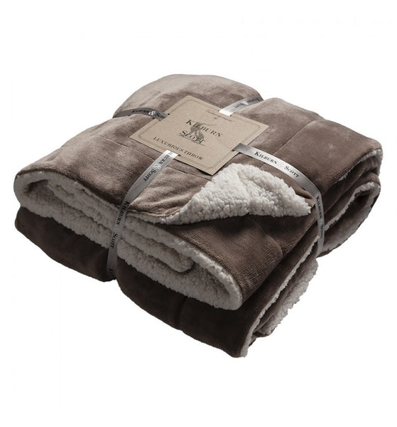 Beautiful Sherpa Throw Taupe,  - Olive and Sage, Olive and Sage  - 2