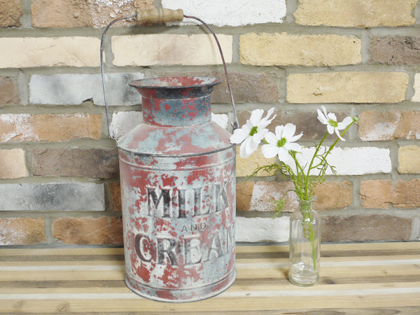 Galvanised Red Milk Churn