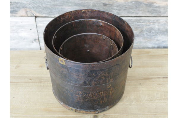 Set of 3 Indian Iron Pots