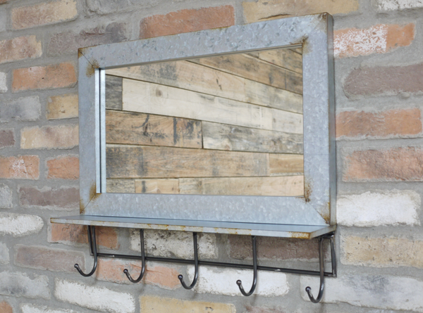 Industrial Mirror and Hooks