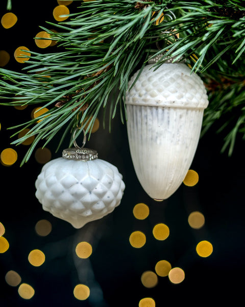 White Woodland Baubles