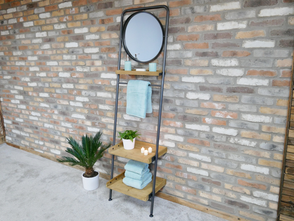 Industrial Shelves & Mirror