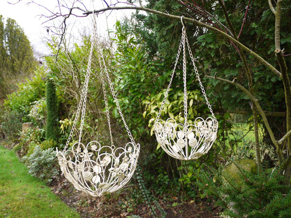 Pair of Cream Hanging Baskets ,  - Olive and Sage, Olive and Sage