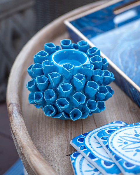 Blue Coral Candle Holder