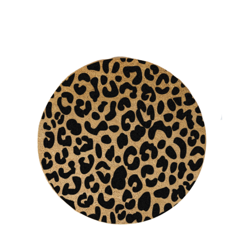 Black Leopard Door Mat