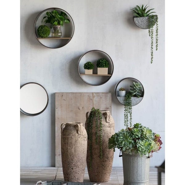 Galvanised Planters & Mirror