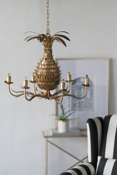 Gold Pineapple Chandelier Olive And Sage