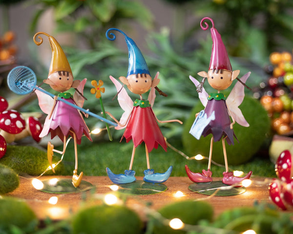 Trio of Gardening Pixie Girls