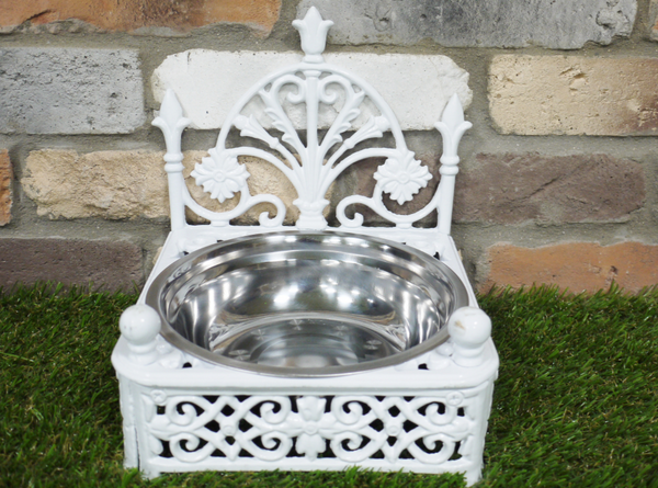 Cast Iron Dog Bowl - White