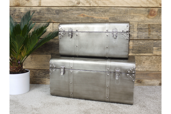Set of 2 Industrial Trunks