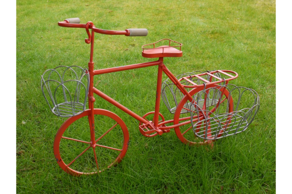 Red Metal Bike Planter