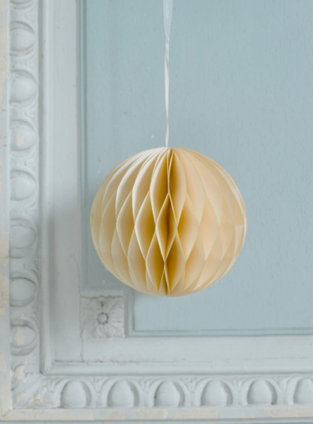 Pair of Cream Honeycomb Baubles